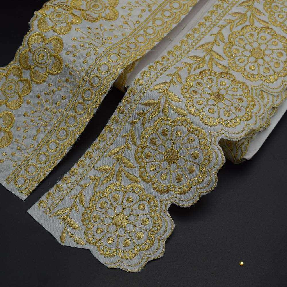 White fabric Gold Floral Embroidery Lace Ribbon Trim 4''