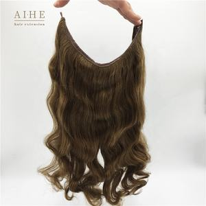 High quality cheap price wavy brown layered invisible wire real remy human halo hair extensions for short hair
