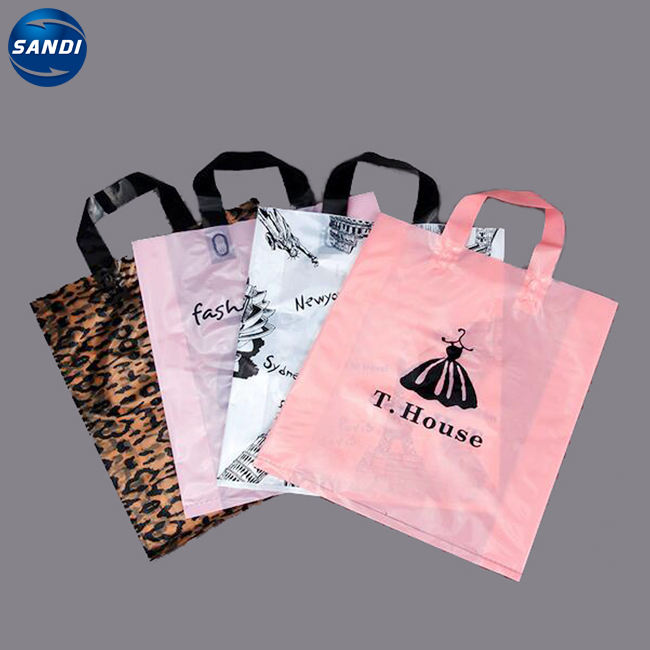 Custom logo printed 100% disposable shopping store bags plastic bag with logos