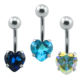 Love Heart Crystal Surgical Stainless Steel Piercing Female Sexy Navel Belly Button Ring
