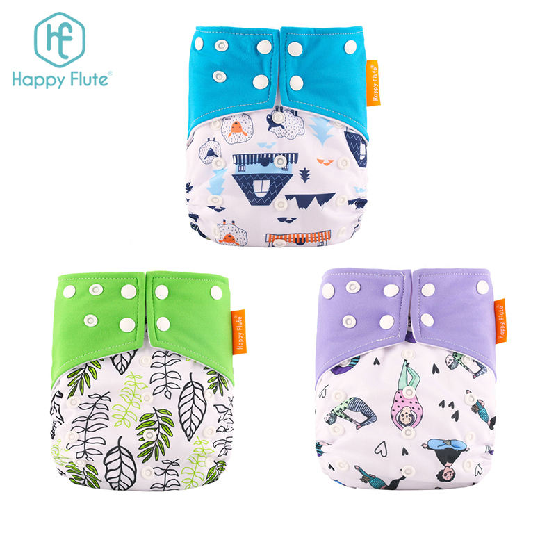 Happyflute Hot Selling Beautiful Print Ecological Bay Cloth Diaper Adjustable Washable Diapers