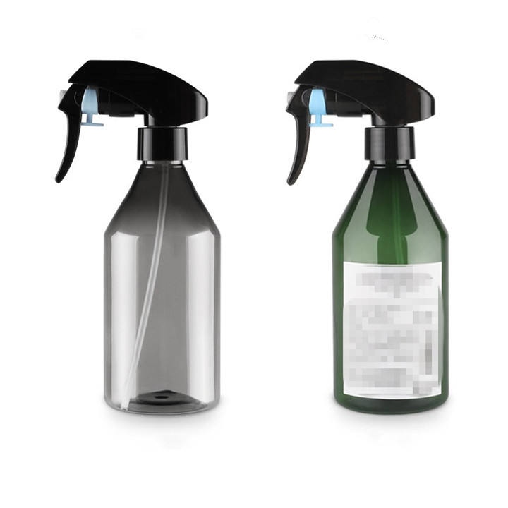 Empty 300ml Clear gray green pet plastic spray water bottle for garden flower with trigger spray cap & label