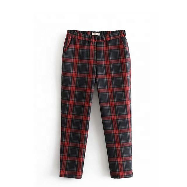 Hot sale straight Casual Plaid pants women s pajamas
