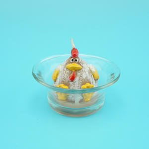 Fat Chicken Decorative Candles Sitting in Glass Candle Holder for Home, paraffin wax candle
