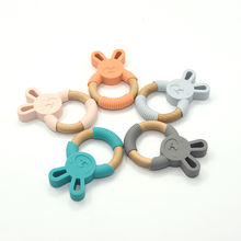 New Arrival Funny Teething Toys Silicone and Wood Baby Teether