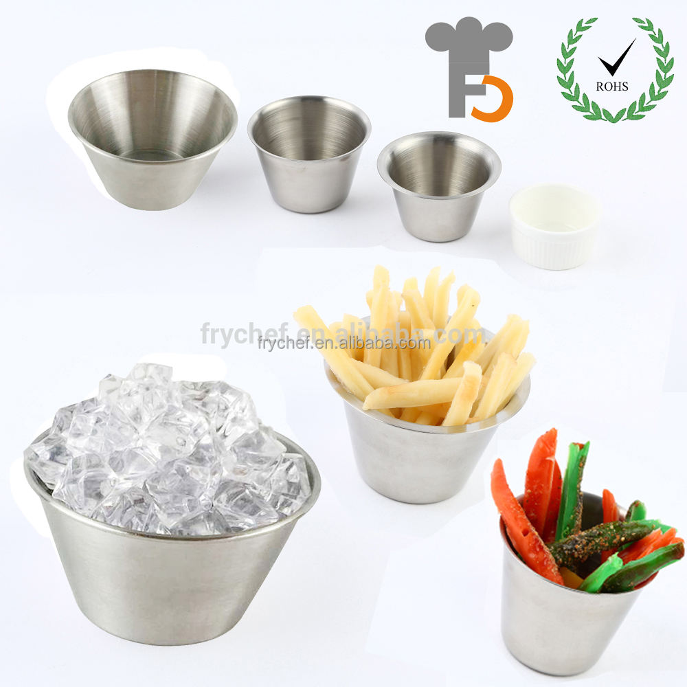 Stainless steel 18/8 sauce cups - Individual round condiment ramekins, portion dipping sauce cup kitchen set 2oz ,4oz , 6oz