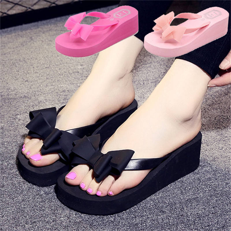 Fashion Cheap Wholesale Ladies Bow-knot Slipper Women High-heeled EVA Sandals Flip Flops