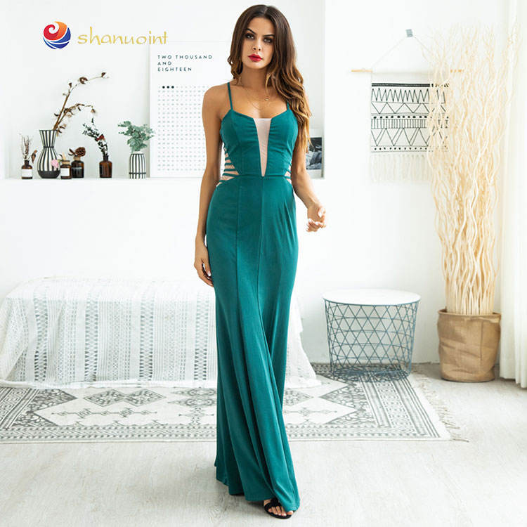 SHANUO Brand Full Length Women Beautiful Lady Fashion Dress