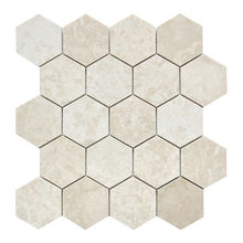 hexagonal beige natural stone tiles for kitchen backsplash