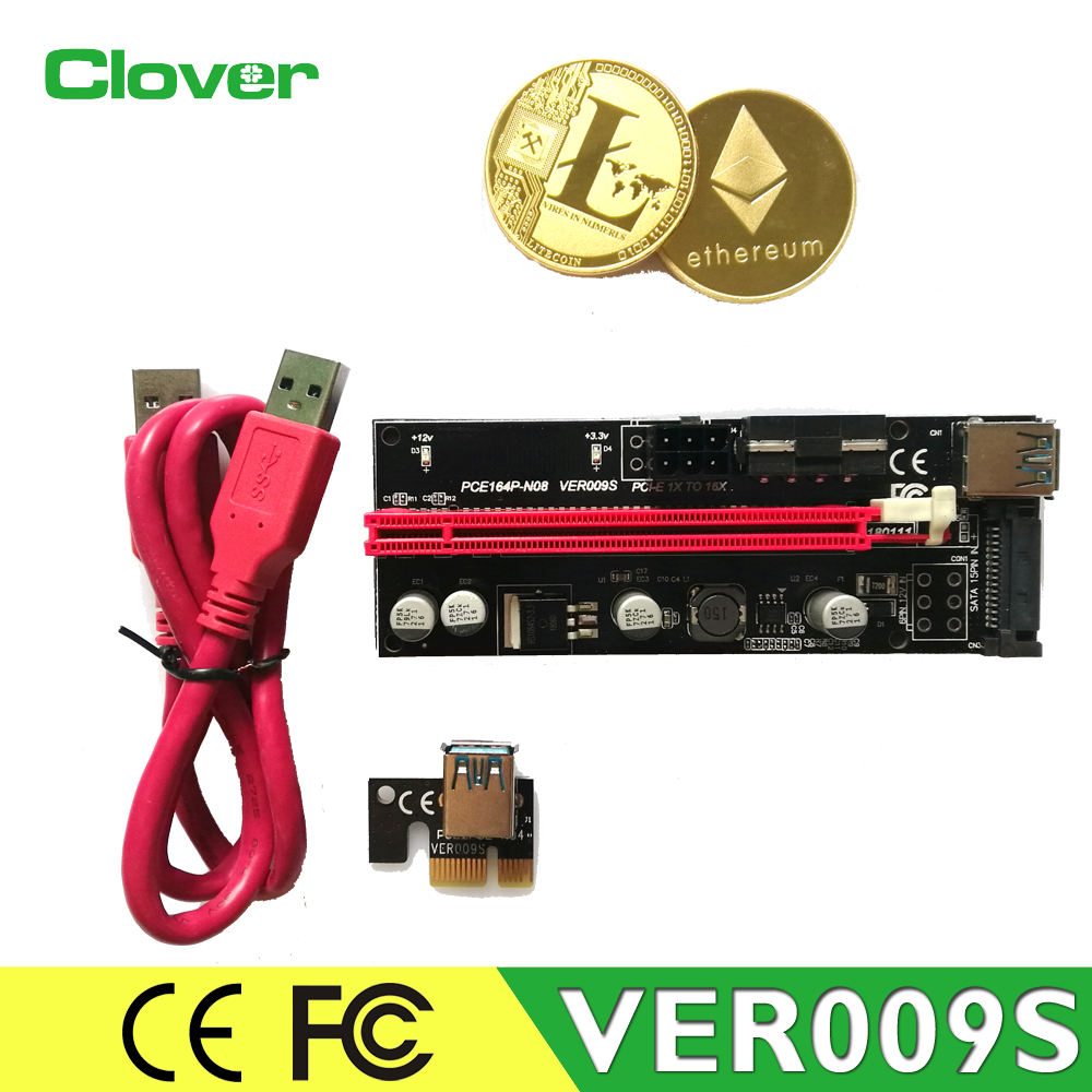 Newest 3 interfaces Molex 4pin 6pin Sata15pin gold plating pcie x1 to x16 mining riser adapter card 009S pci-e riser with Led