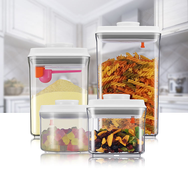2019 Trend Products Fancy Top Push Button POP Transparent Airtight Storage Containers Combination Sets