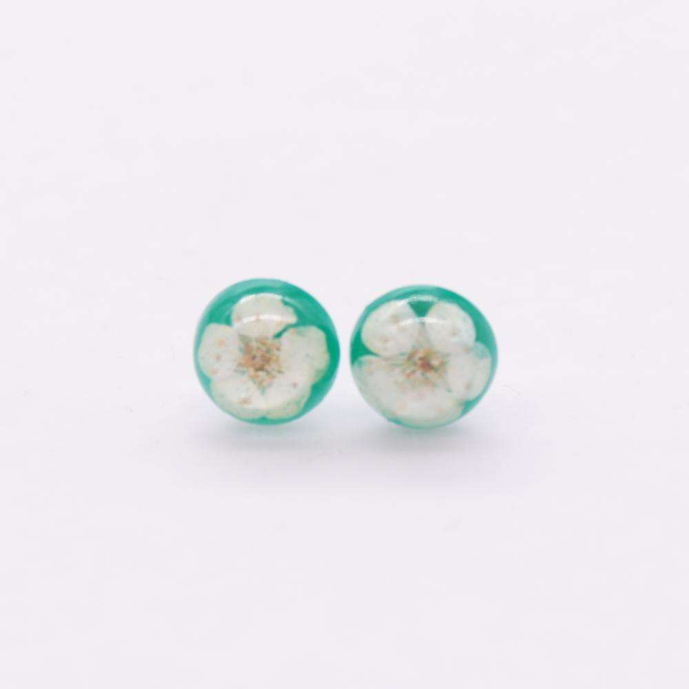Dried pressed real flower 10mm stud Earrings piercing studs resin earrings
