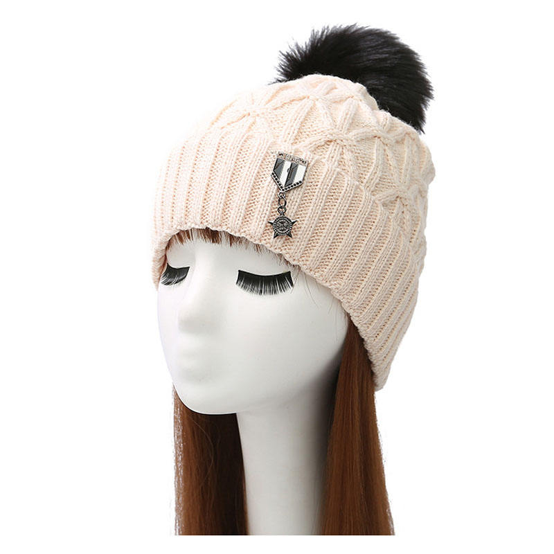 High quality plain blank plus velvet double layers knitted hat with badge