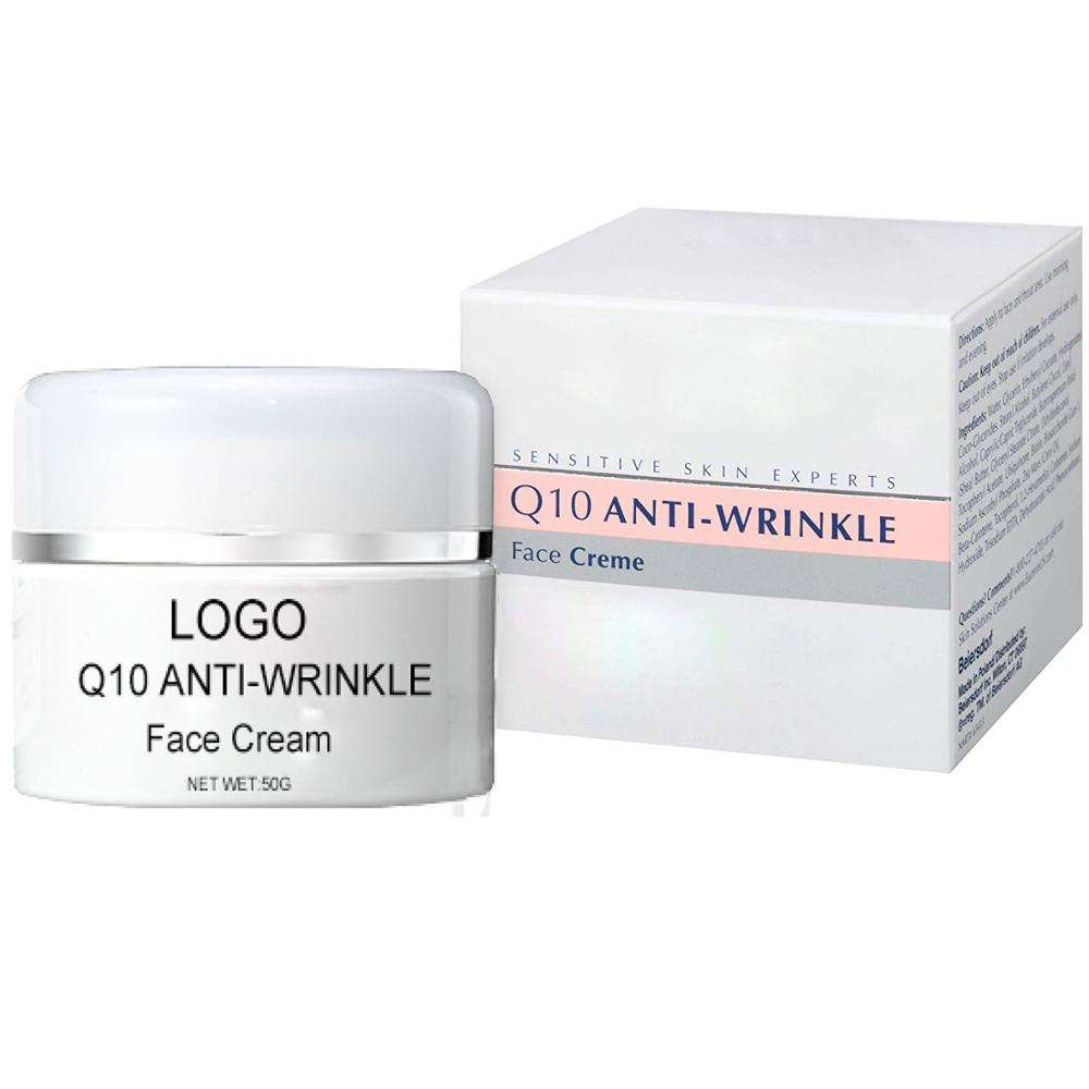 OEM Natural Organic Fomulas Anti Aging Wrinkle Q10 Face Cream for Sensitive Skin with package box