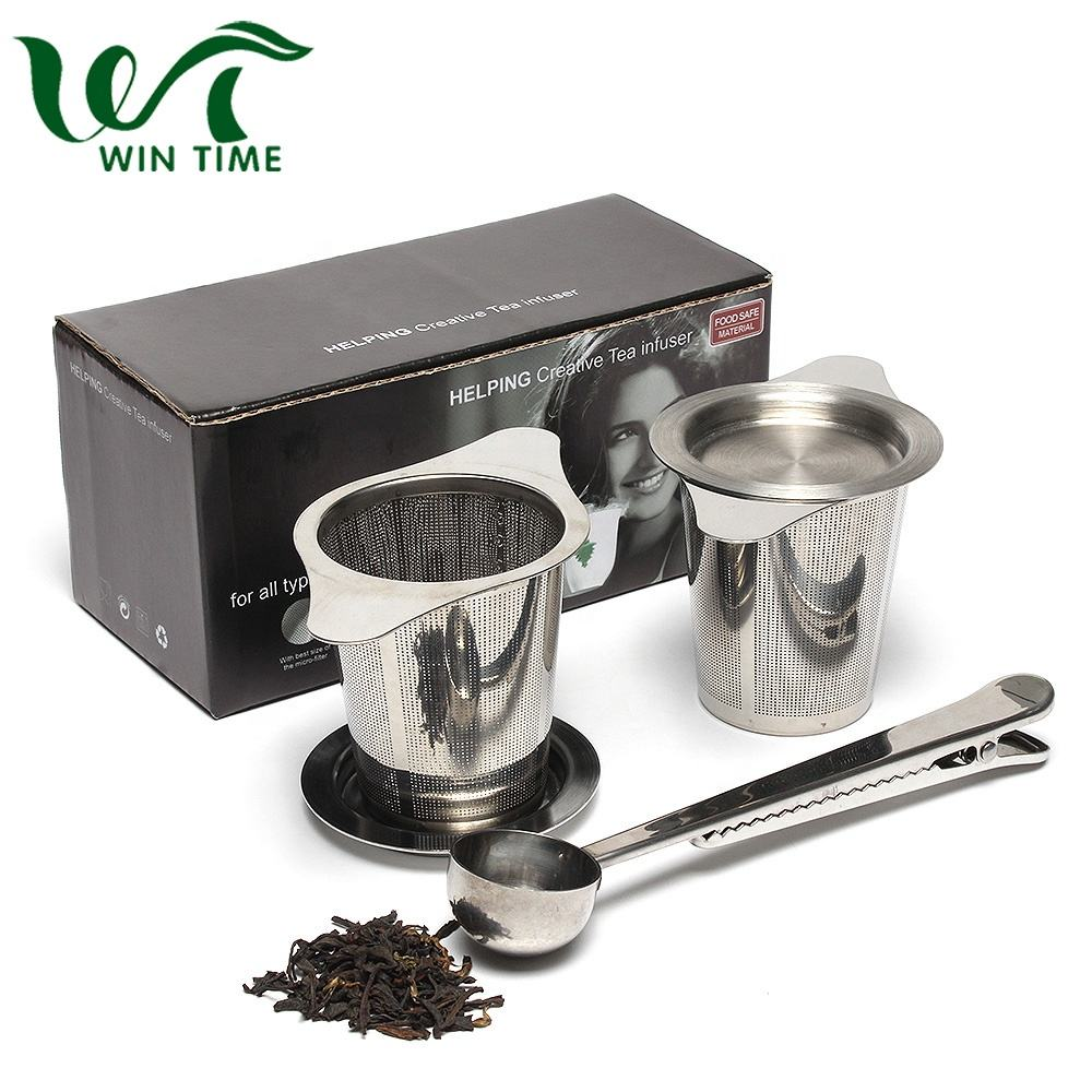Wholesale Custom Stainless Steel Tea Infuser Set 2Pcs Tea Strainer and 1Pc Spoon for Brewing Loose Tea