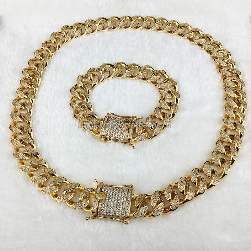 Hot Style Men's CZ Paved Gold Chain Diamond Miami Cuban Link Chian and Bracelets
