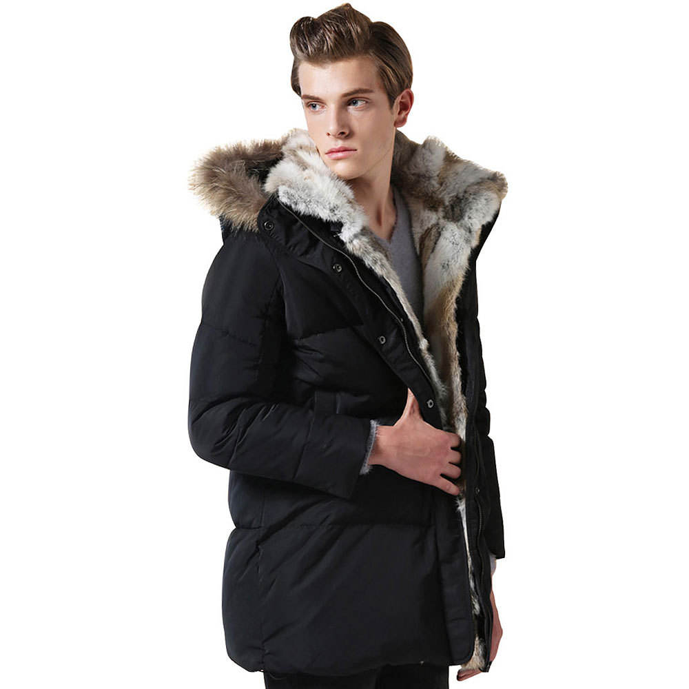 JACKETOWN manufacturer winter parka thick warm down coat fur trim mens luxury jackets