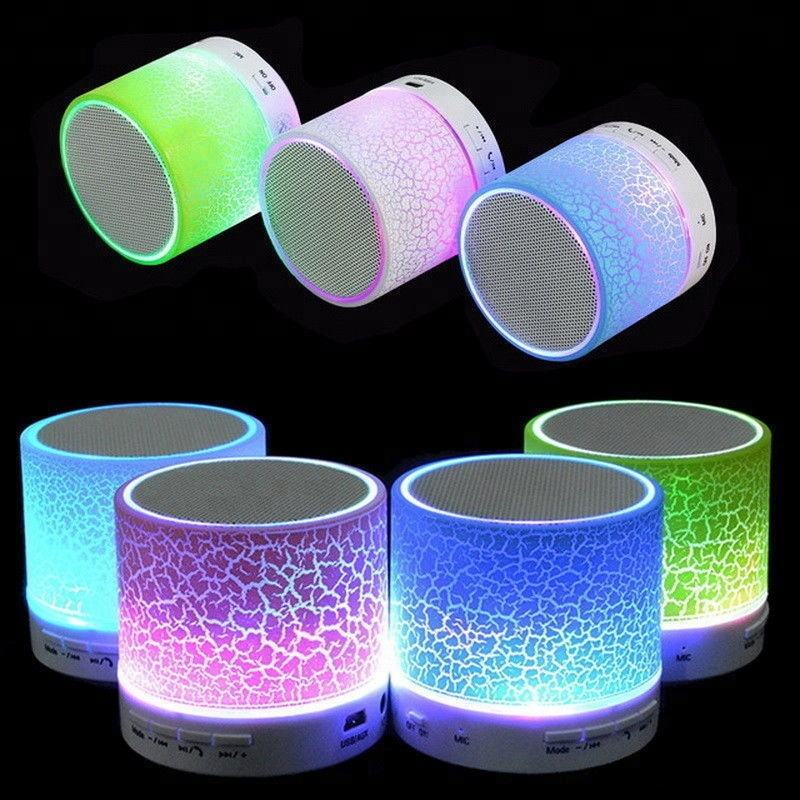 2019 Shenzhen New Cheap Free Wireless Speaker with radio Colorful Blue tooth speaker with LED Light TF Card Reader