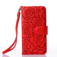 D043 New Design Customized Available Camellia Flower PU Leather Private Label Phone Accessory For Iphone X