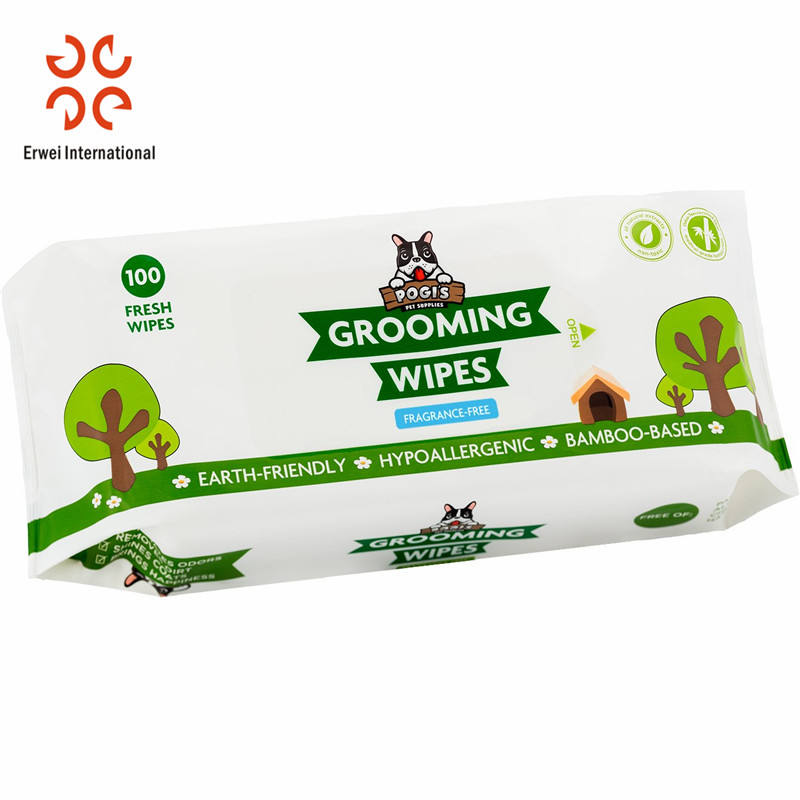 Eco-friendly biodegradable Bamboo Pet dog wet grooming wipes