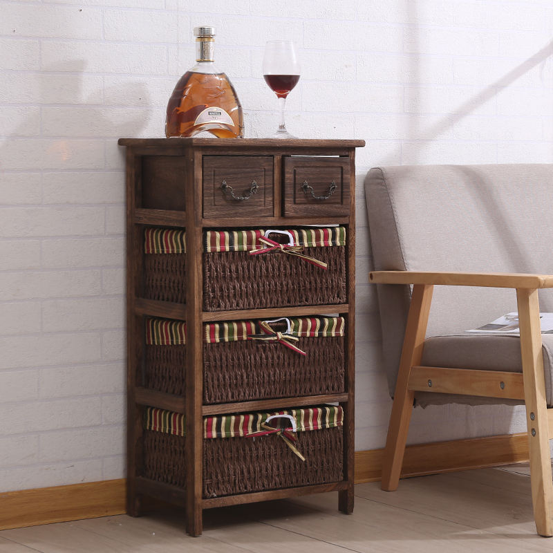 Rustic Brown Wooden Storage Cabinet Chest with 4 Lined Maize Basket Style Drawers