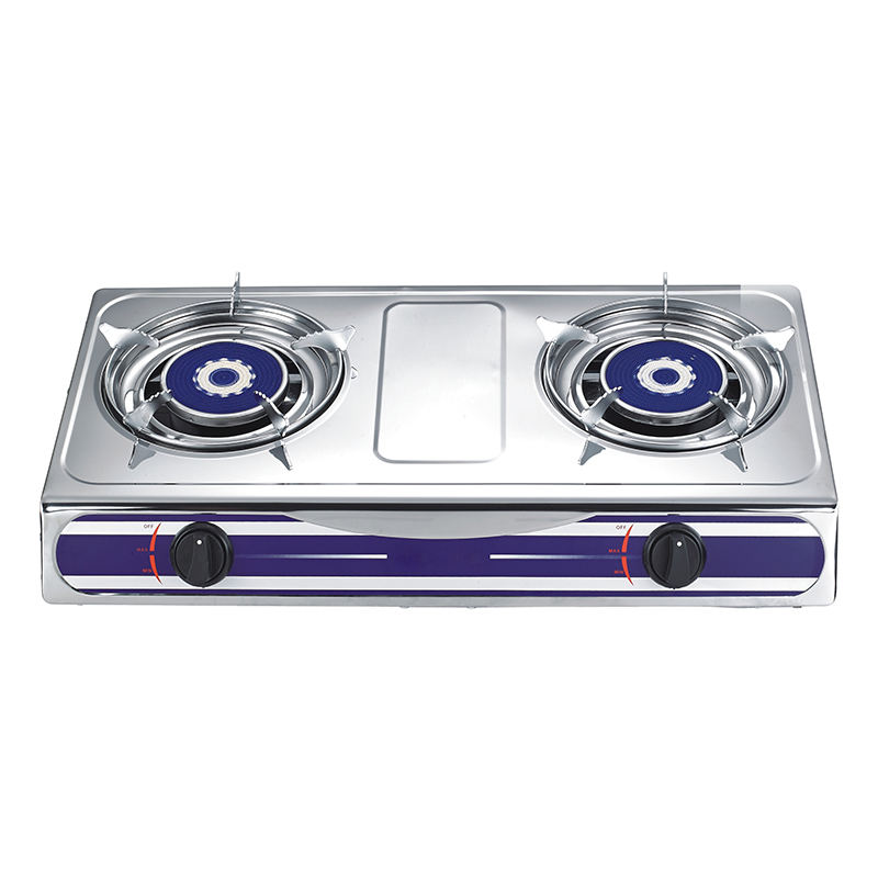 China suppliers 2 burner electroplate silver grill stainless steel kitchen lpg gas cooker