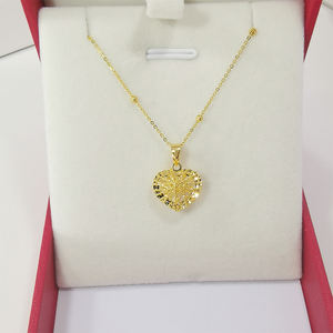 18k Real Gold Necklace Jewelry Yellow Gold Genuine Heart Pendant Necklace Gold Chains