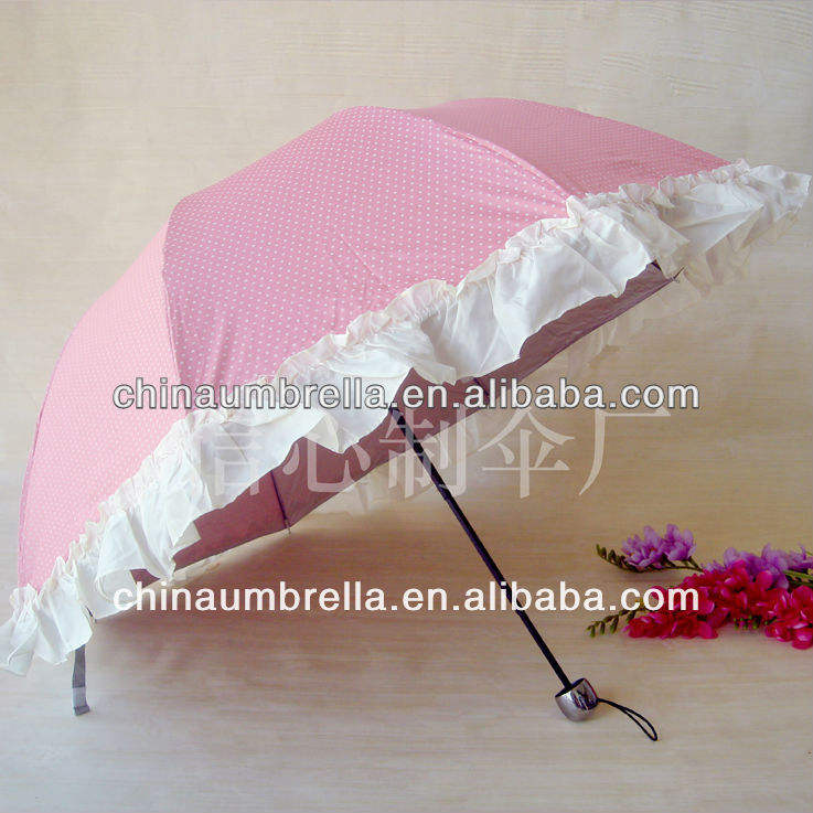 Korea style Folding Auto lace umbrella XC-803