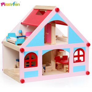 Grosir Hot Sale DIY Kayu Anak Rumah Boneka dan Mini Furniture Set Mainan AT12116