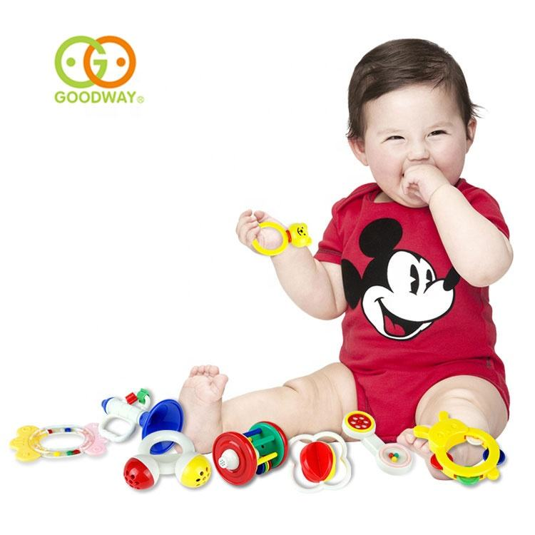 Eco-friendly ABS material lovely infant toy plastic baby hand rattle rings
