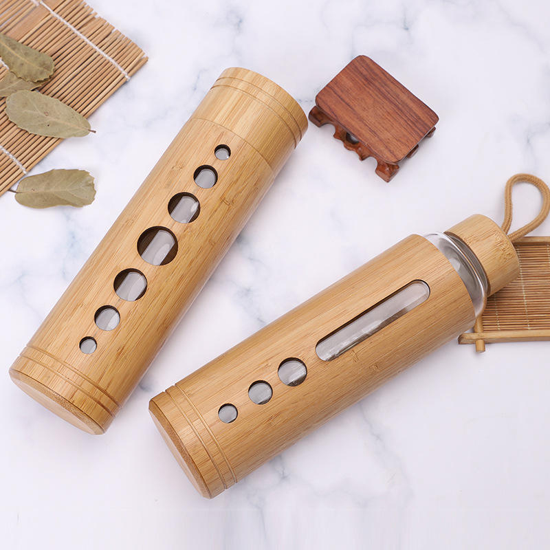2019 Private Label Double Wall Glass and Bamboo Water Bottle with Bamboo Sleeve &Bamboo Glass Water Bottle 600ml