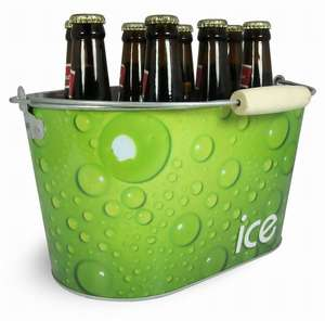 Free sample promotion tin box square ice metal tin bucket for beer galvanized tinplate ice bucket
