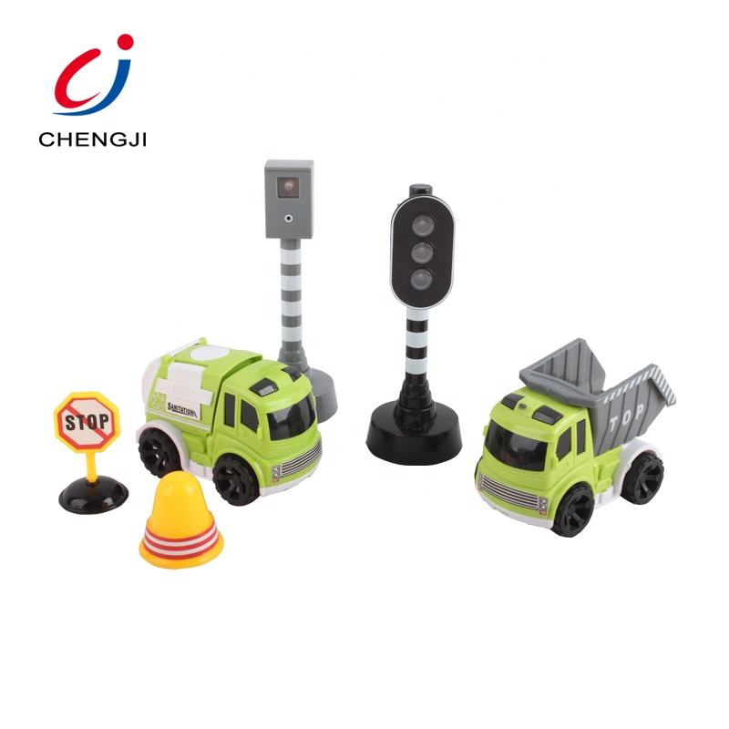 Kids inertia plastic garbage truck set friction toy car city with traffic lights