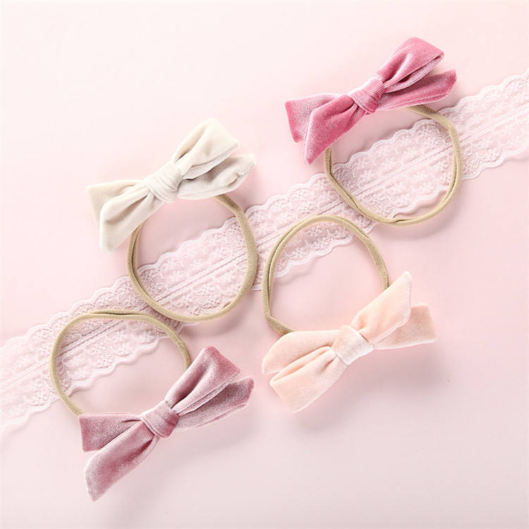Professional Manufacturer Pure Color Velvet Kids Bow Ribbon Headband