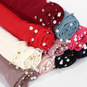 Wholesale muslim scarf malaysia pearl chiffon shawl hijab