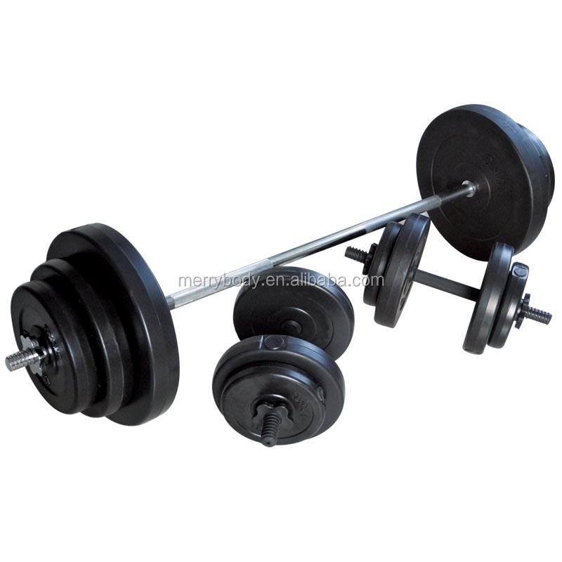 high quality plastic coated cement dumbbell barbell sets