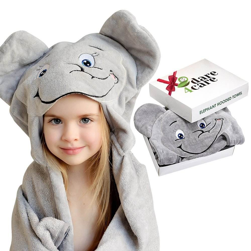 large personalized soft bamboo microfiber elephant baby poncho hooded towel with beach for toddler kids babies girls children