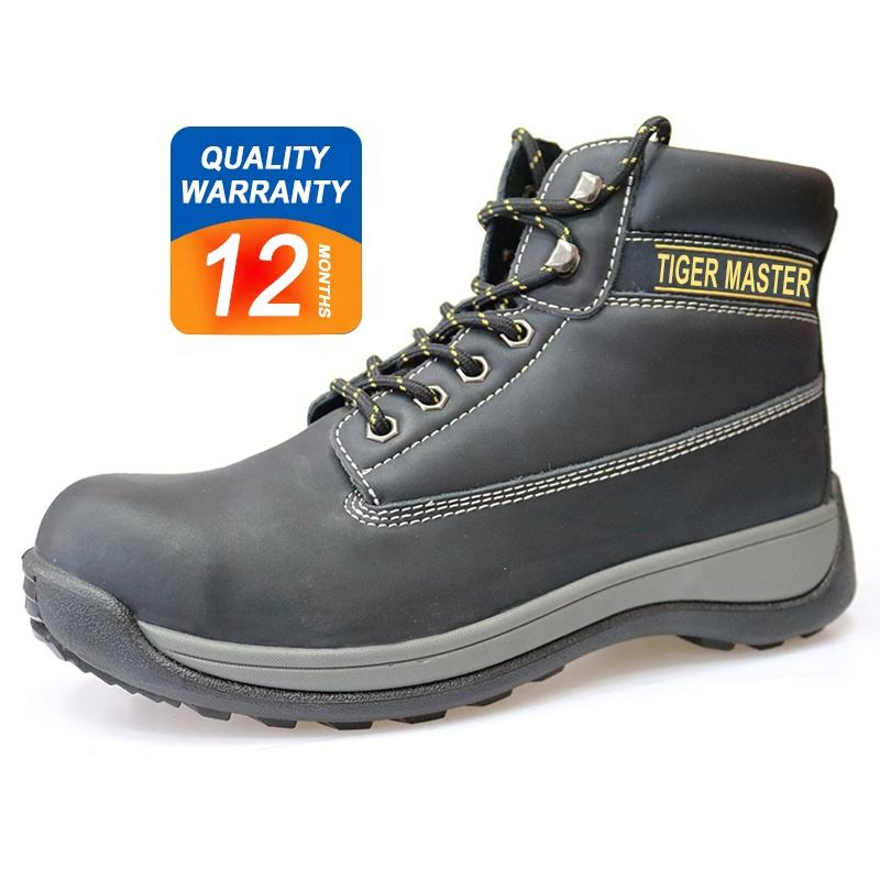 PU injection oil slip resistant leather steel toe cap safety shoes for men