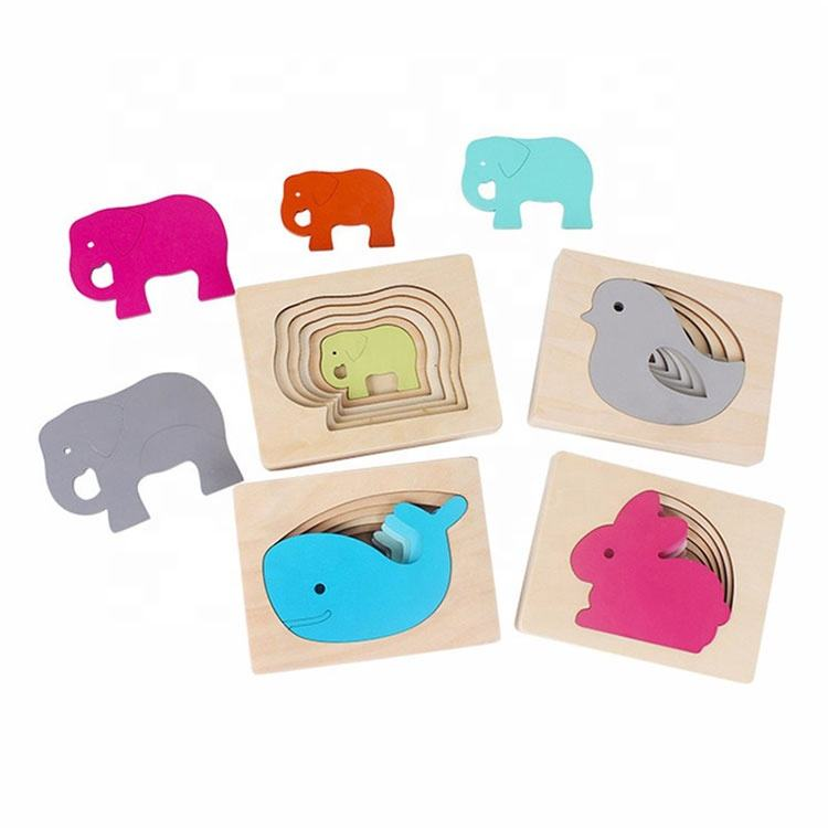 Carton Rabbit/Bird/Elephant/Whale Puzzle Multilayer Jigsaw Baby Child Early Enlightenment Grab Educational wooden puzzle