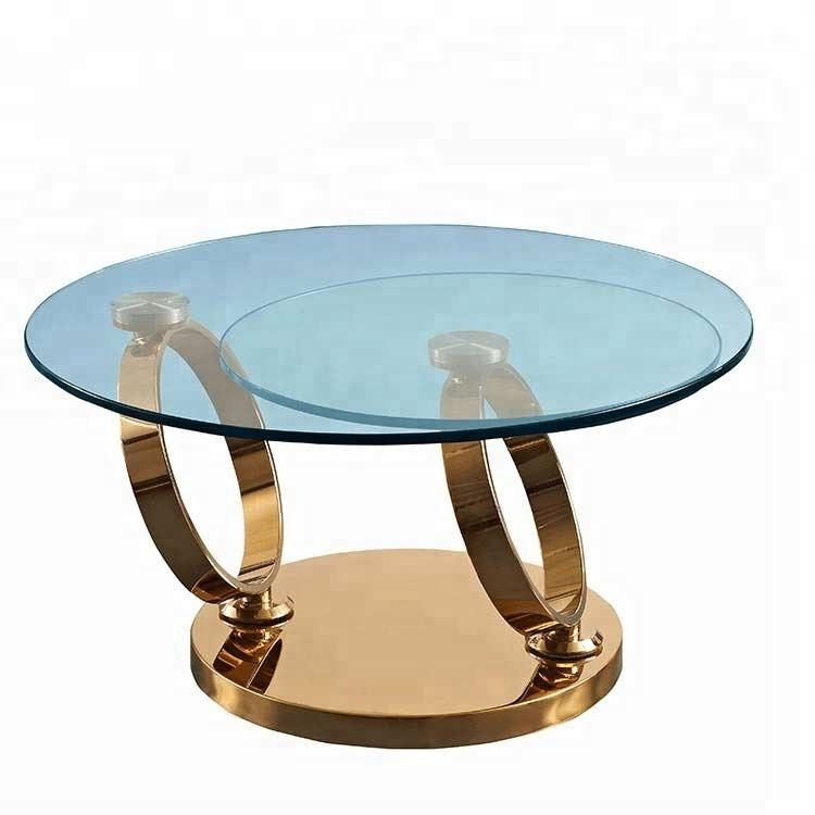 Set Furniture <span class=keywords><strong>Desain</strong></span> Cincin Chrome Bulat Kaca Meja Kopi Meja Kopi Cafe