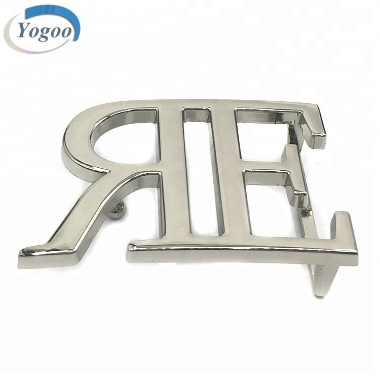 Private Silver Plating Custom Letter Logo Metal Brand Name Plate Belt Buckles