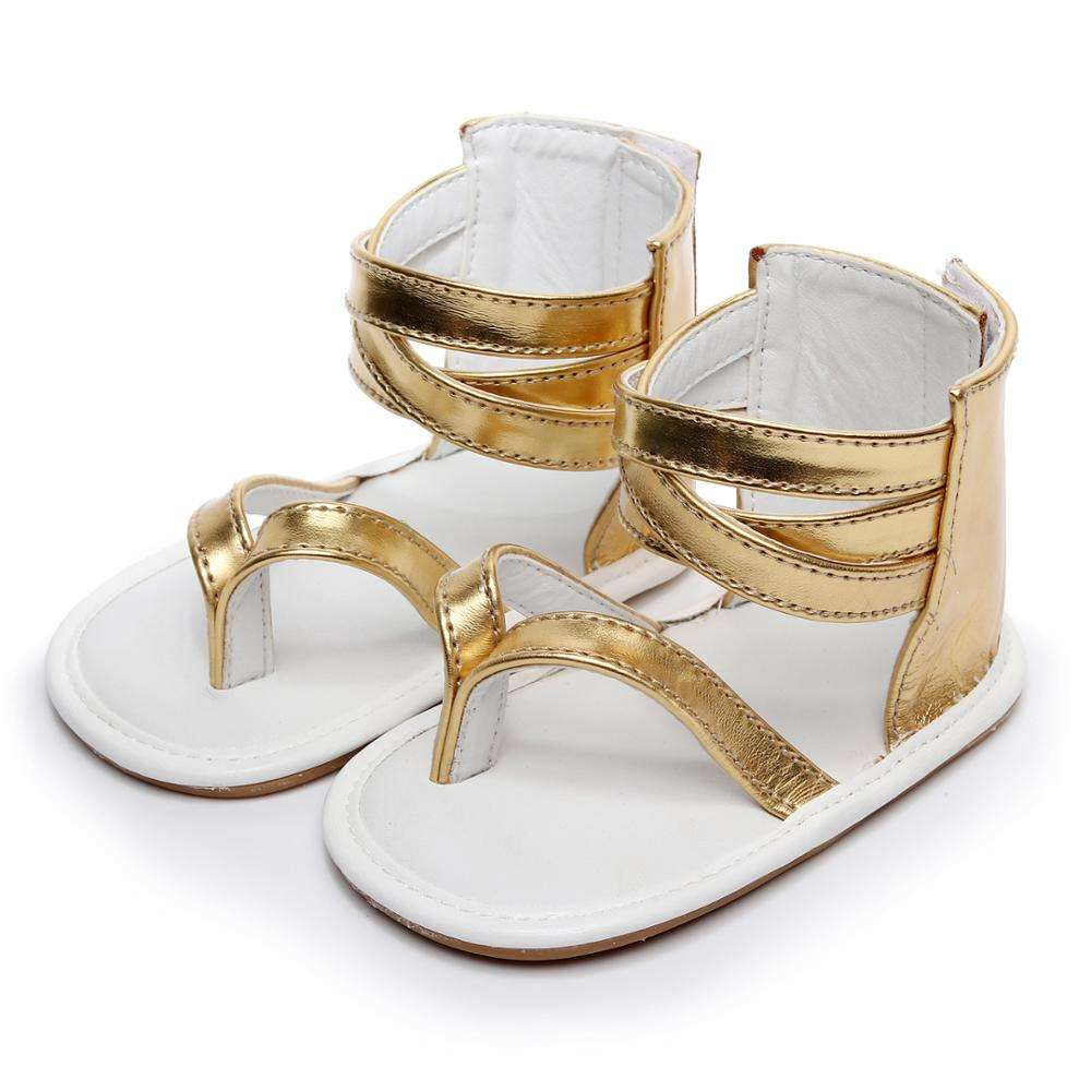 2018 Summer T-bar Leather shoes Hard Sole Toddler gladiator Baby Girl Sandals