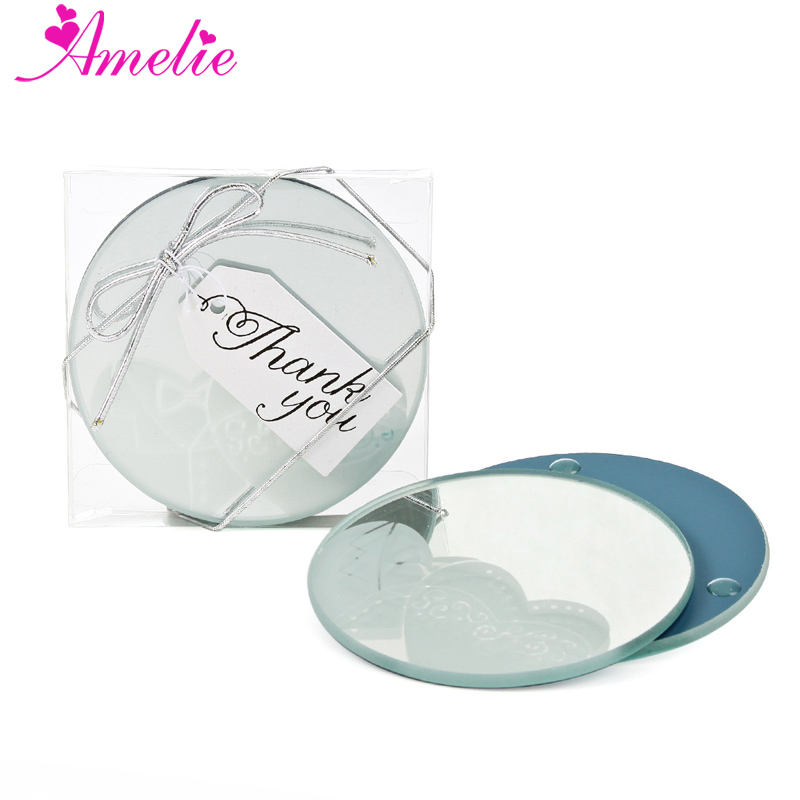 Round Shape Dull Polish Wedding Dress Logo Glass Coasters Mirror Style Wedding Glass Coasters Party Favors Gifts