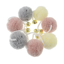 Chinese craft supplies kids diy wedding and party decor hanging free colorful girl baby nursery yarn pompom garland new products