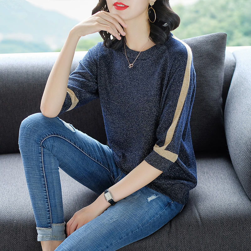2019 new arrival high quality ice silk summer breathable half sleeve women round neck loose pullover sweater