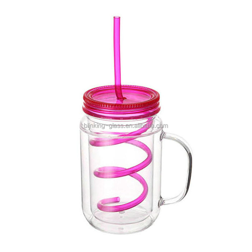Acrylic mason jar with lid and straw