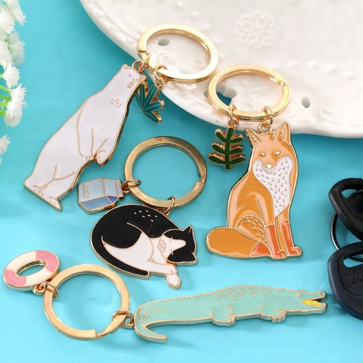 China manufacturer cute animal beer cat fox soft enamel pin keychain