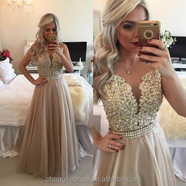 Newest Collection Girls Party Gown Pearls Chiffon Western Sexy Prom Dresses For Party 2018