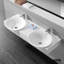 Solid Surface Double-bowl Designer Washbasin Bath Stone Sink Bathroom Double Sink