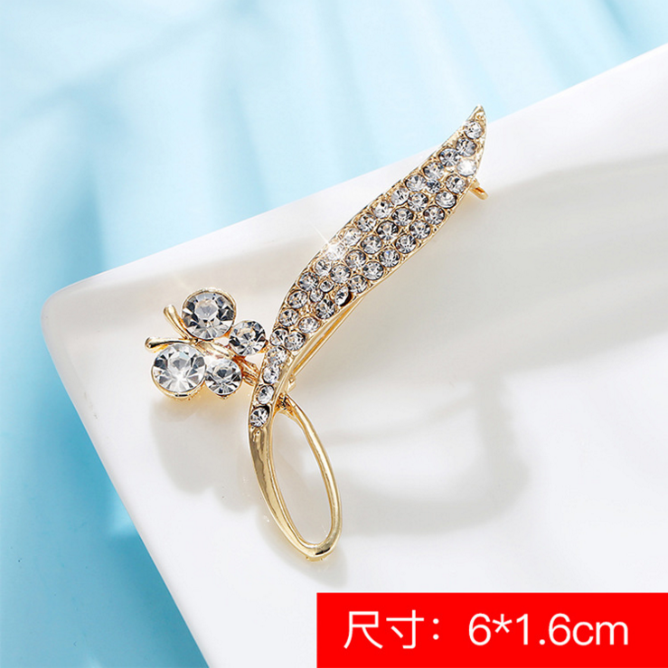 fashion cheap price gold plated zircon deer brooch pearl lovely swan crown hand camel fly butterfly angel wings music leaves